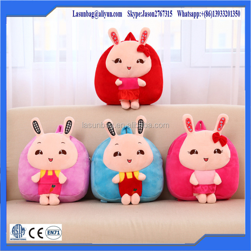 2015 New Design Fashion Nice Cartoon Rabbit Plush Backpack Kids School Trolley School Book bag Manufacture
