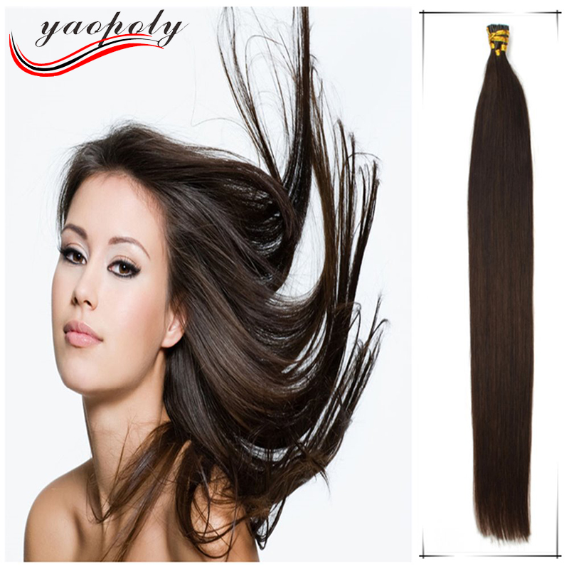 Best glue 100 strands /pack virgin human hair extension silky straight I tip Italian Keratin High Top Quality Hair