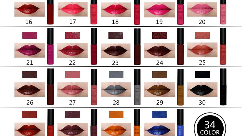 Qibest Brand Lips Beauty Make up Pigment Waterproof Lipgloss Long Lasting Black Velvet Matte Nude Lipstick Red Lip Gloss Lot