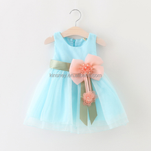 KS20105A Summer korean style solid color baby girl tulle dress with flower appliqued
