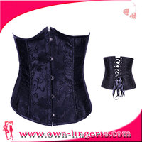 half cup corset lingerie, black satin corset, factory direct wholesale