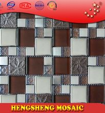 Latest design decoration wall tile floor tile glass mix ceramic mosaic tiger skin white granite tiles