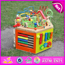 EN71 Kids activity cube maze toy,Multifunctional wooden beads maze toy,Colorful 3D around beads maze toy W11B062
