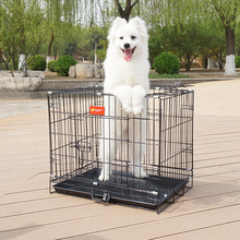 deluxe folding expandable wire dog cage kennel with metal tray