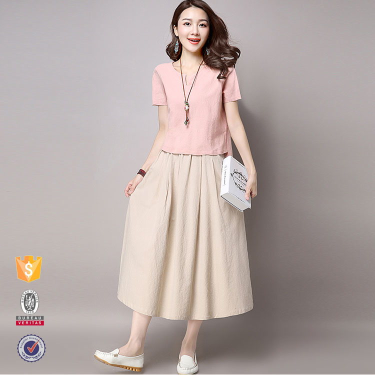 Bulk wholesale women summer fashion linen skirt