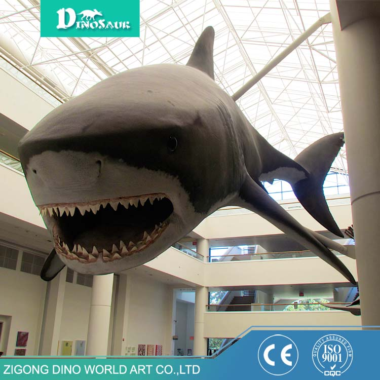 Top quality modern Theme park fiberglass figure great white shark