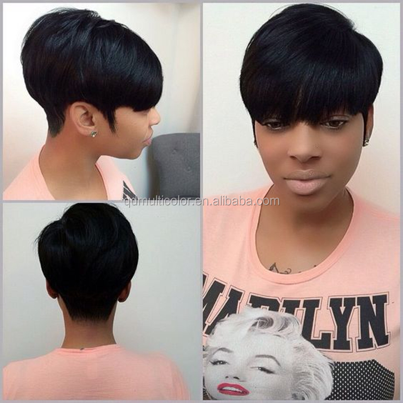 Hot Selling Short Bump Weave <strong>100</strong>% Virgin Human Hair 27 Pieces Wigs with Free Closure and Shower Cap