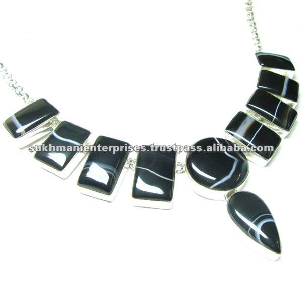 925 Silver Necklace, Chunky necklace, Semi precious stone necklace