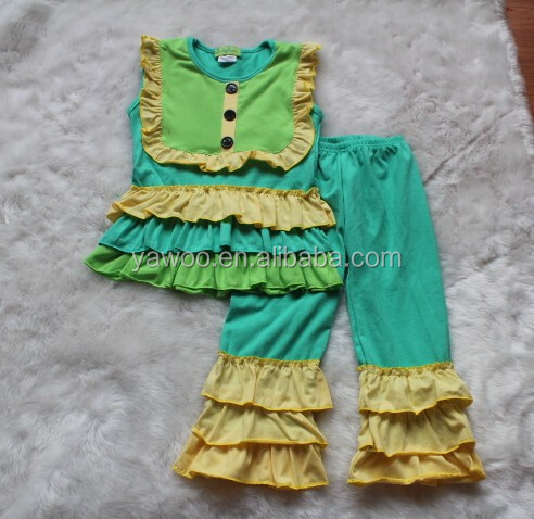 Hot Cotton Brand Baby Girl Summer Ruffle Remake No Sleeve T-shirt With Bib And Triple Ruffle Pant Kids Clothes In China