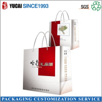 Custom made square shape luxury gift paper wine bottle bag with logo printing