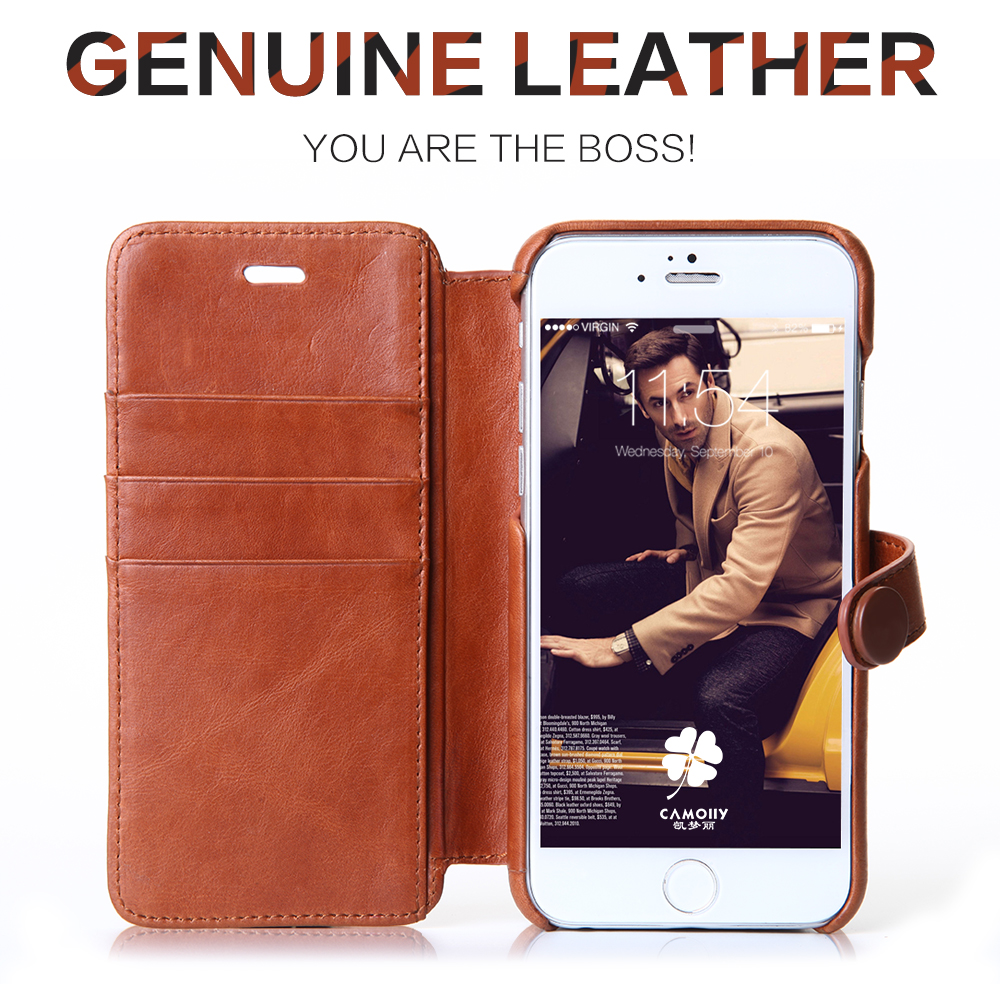 china supplier direct wholesale classic cowhide genuine leather flip phone case for iphone 6s with card holder