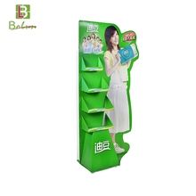 Four tiers recyclable perfume make up store tools lip ointment cardboard counter floor display unit stand for cosmetic