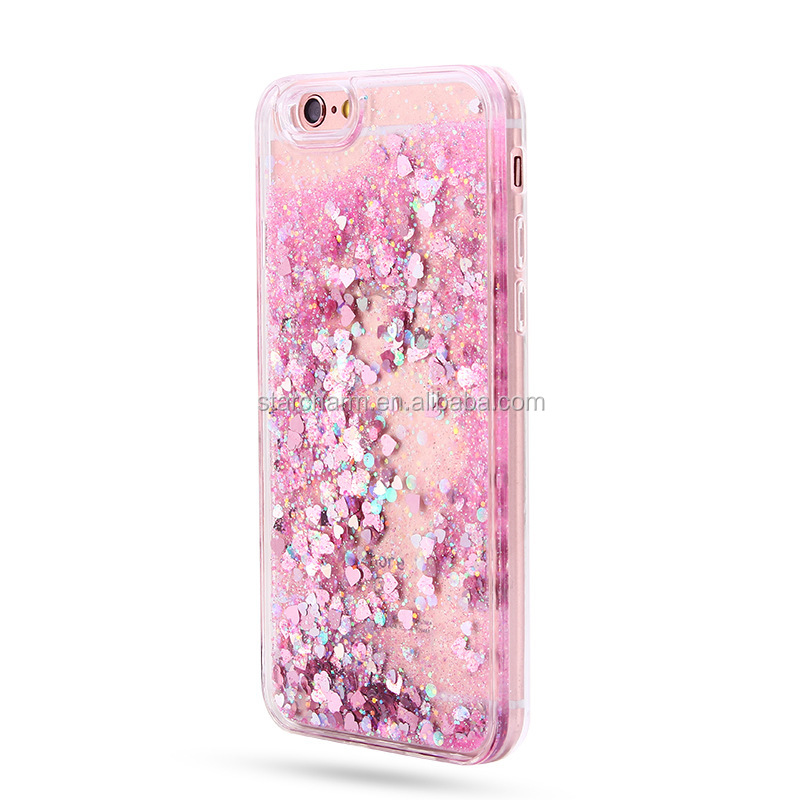 New Arrival Dynamic Liquid Quicksand Star Cute Heart Back Cover Silicon Phone Case for samsung galaxy j3