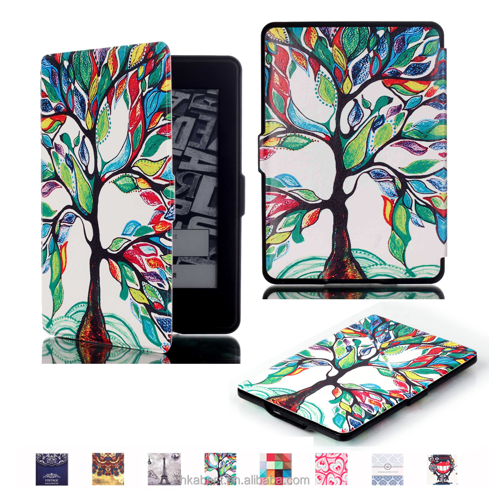For Amazon Kindle Paperwhite 1/2/3 flip leather case IFC096, Magnet Smart case with pattern protective for Amazon Kindle tablet