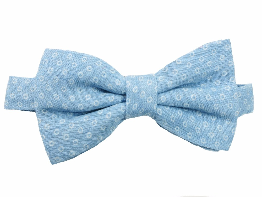 Special Polka Dot Denim Woven Printed Men Male Youth Bowtie Bow Butterfly Tie