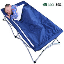 Folding Toddler Bed Portable Royal blue Cot for sleepovers, camping and daycare