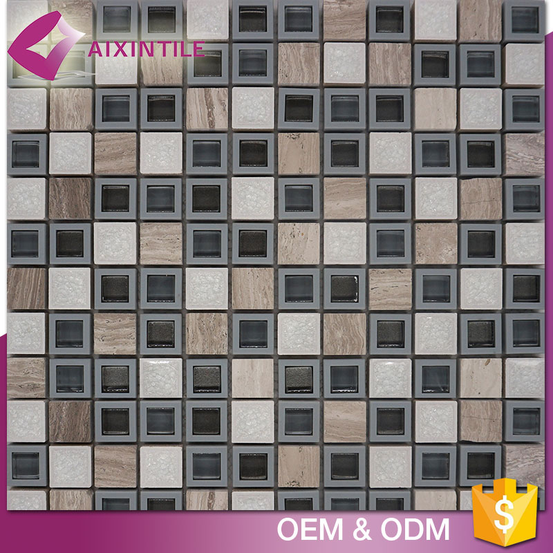 Mixed Color Cheap Cracked Crystal Glass Mosaic Floor Tile
