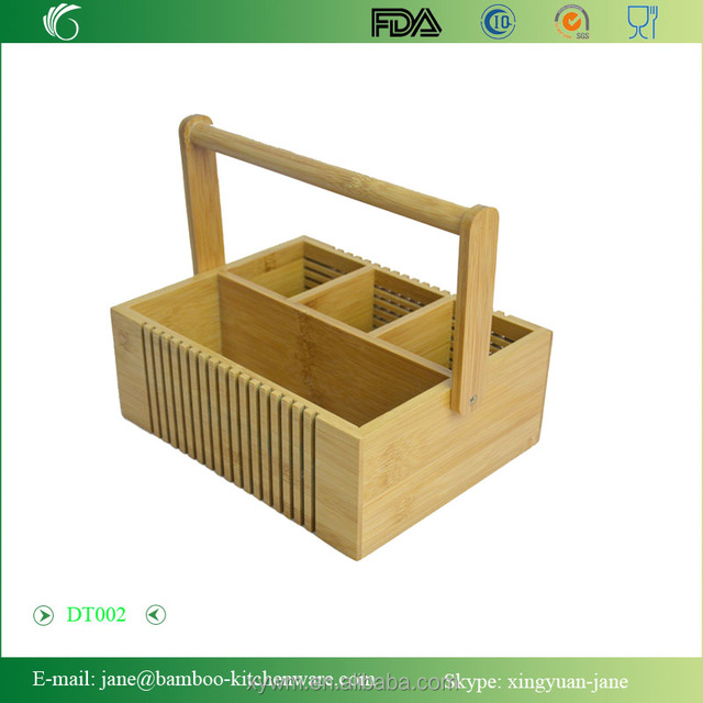 DT002 Bamboo Portable Cutlery and Tool Box or basket