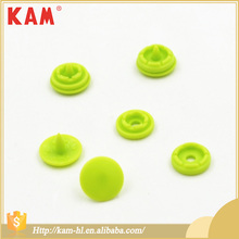 Green colorful custom children clothing four parts plastic bags plastic double cap 10mm snap button for kid garment dress