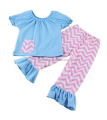 Girls' Short Sleeve Shirts Chevron Pant Set