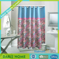 rainbow colorful flower printed novelty polyester shower curtain