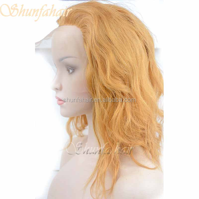 Blonde color natural human hair pull through hair integration system