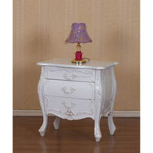 Classical White Carved Bedside Table