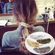 Low price 217 new design metal plume hair accessories leaf bobby pin for women
