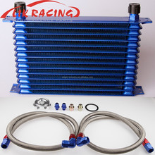 Aluminum 14 Row Universal Trust style Engine transmission Oil Cooler AN10 + filter Relocation Kit