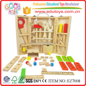 Child Wooden Pretend Play Carpenter Woodwork Tool Toys with Box and Handle
