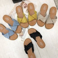 or60557a New fashion summer shoes outwear slippers women flat cross brand slipper sandals