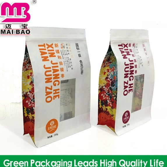 Flat Bottom Food Coffee Packaging Stand up Ziplock Pouch/Brown Kraft Paper Bag with Clear Window and Zipper
