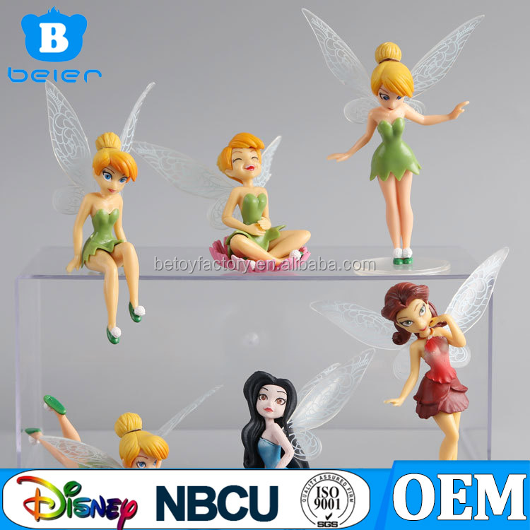 6 Pcs New Year Gift Tinker Bell Fairies Princess Action Figures PVC Doll Toy Topper Kids Party Toy Tinker