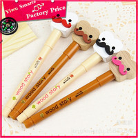 Eco Promotional cute stationery wholesale wood ballpoint pen/cute funny cartoon beard wooden pen