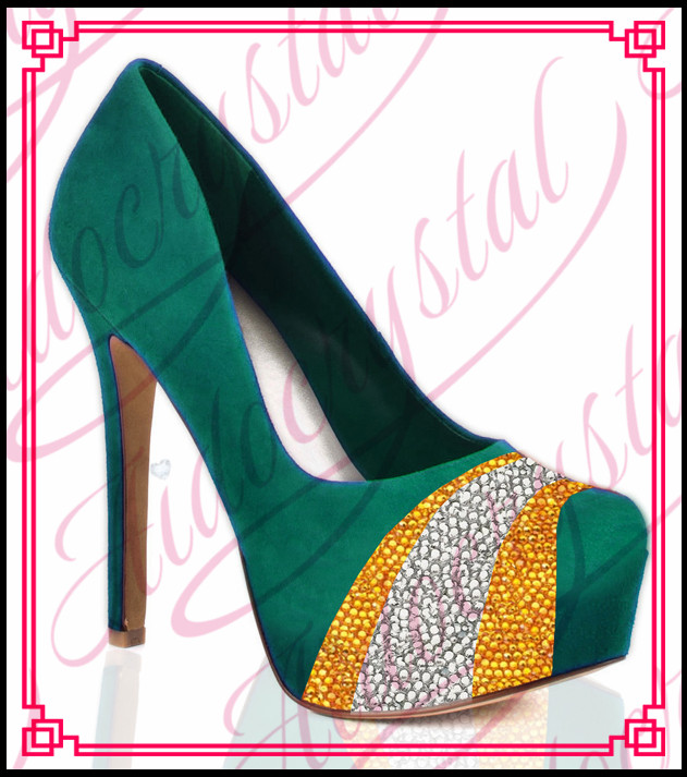 Aidocrystal Gorgeous Hot Sale High Heel Platform Green Wedding Shoes with Yellow and white crystal Studded
