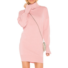 YL High quality cheap autumn new Fashion Women pink Mini jumper Dress Young Girls Ladies long sleeve sweater Dress For Wholesale