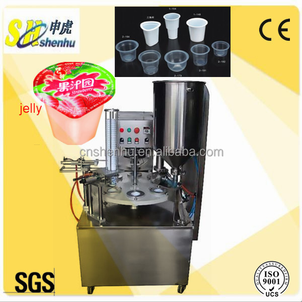 Good quality rotary soft drinks/jelly cup filling and sealing machine with GMP CE SGS Standard