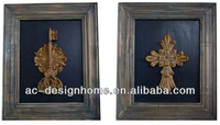 BRONZE/YELLOW RUST POLYRESIN/WOODEN KEY & CROSS WALL DECORATION 2/A