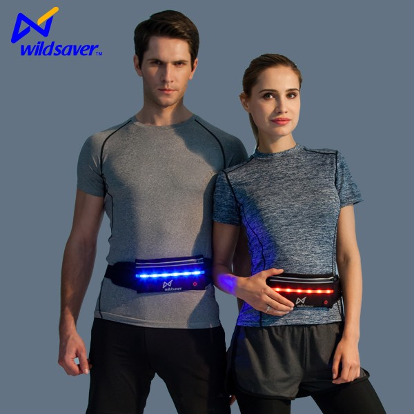 Hot sale LED reflective waist fanny pack for night runners