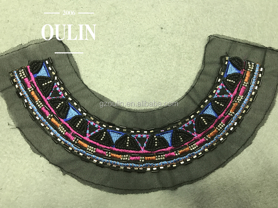 garment trim Bulk price collar design embroidery beaded neckline trim trimmings collar type embroidery for garments
