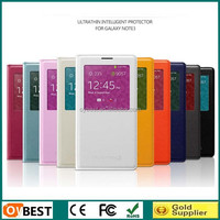 New Arrival Ultra Thin leather flip case for samsung galaxy note 3 with Smart window and sleep function