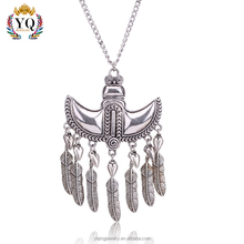 PYQ-00083 silver alloy owl pendant necklace with tassel for man and woman