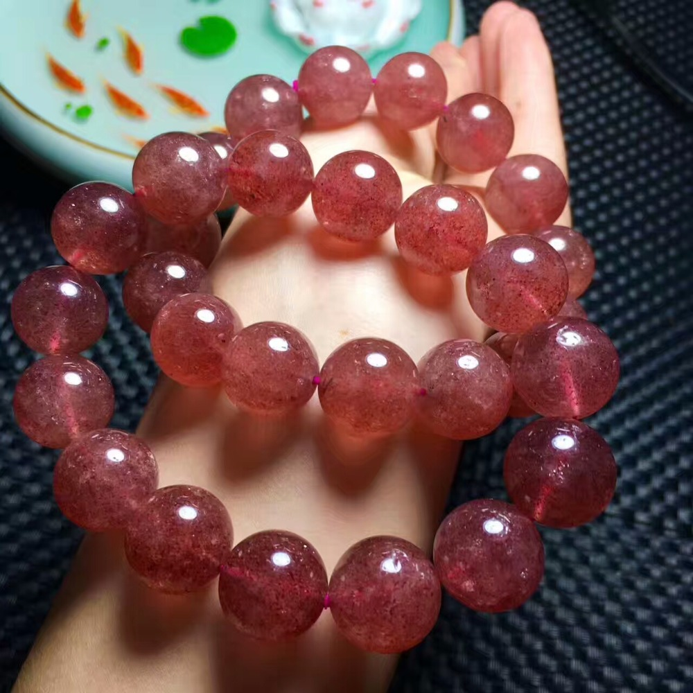 Natural AAA grade 5mm large particles of healing strawberry crystal beads jewelry made crystal bracelet Jewelry Gift for friends