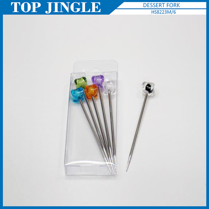 6 Pieces Stainless Steel and Acrylic Flower Shaped Fruit Forks Set