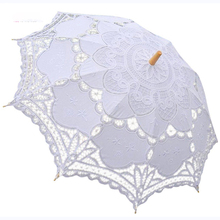 Wooden Handle Lace Parasol Bridal Wedding Umbrella