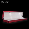 FANXI China Wholesale Logo Long Necklace Gift Boxes Packaging Red Rubber Painted Led Light Jewelry Box Custom Bracelet Box