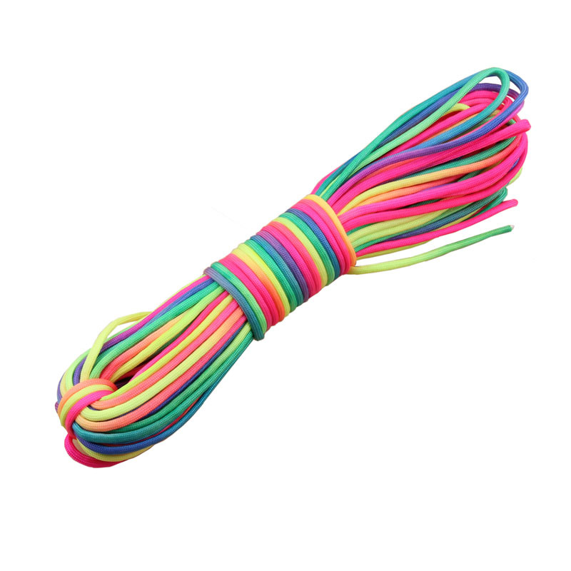 Wholesale 31 Meter Rainbow paracord 550 Paracord Parachute Cord Lanyard Rope 7Strand for Climbing Camping Rainbow paracord