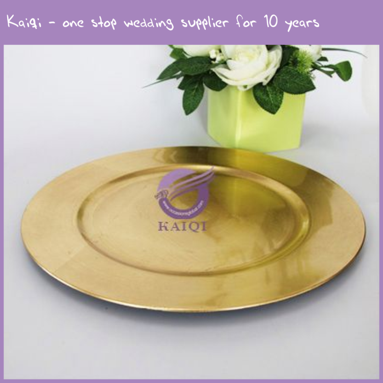 20874 Wholesale cheap wedding gold plastic dinner charger plates