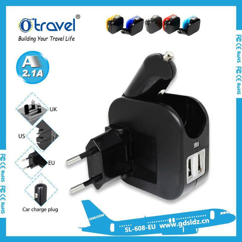 shenzhen manufacturer High quality usb wall car charger for smart phone tablet accessories 5V 2.1A /5V 1A