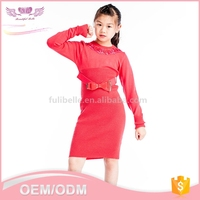 Custom new latest girls party wear fancy red lovely kid dress woolen sweater designs for children